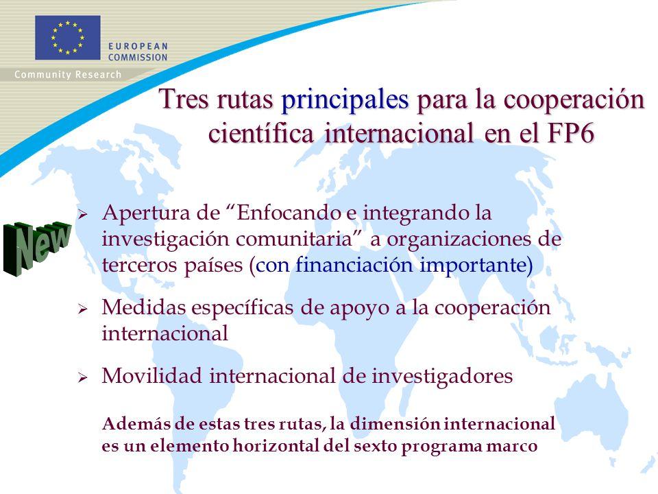 Tres rutas principales para la cooperación científica internacional en el FP6 Apertura de Enfocando e integrando la investigación comunitaria a organizaciones de terceros países (con financiación importante) Medidas específicas de apoyo a la cooperación internacional Movilidad internacional de investigadores Además de estas tres rutas, la dimensión internacional es un elemento horizontal del sexto programa marco