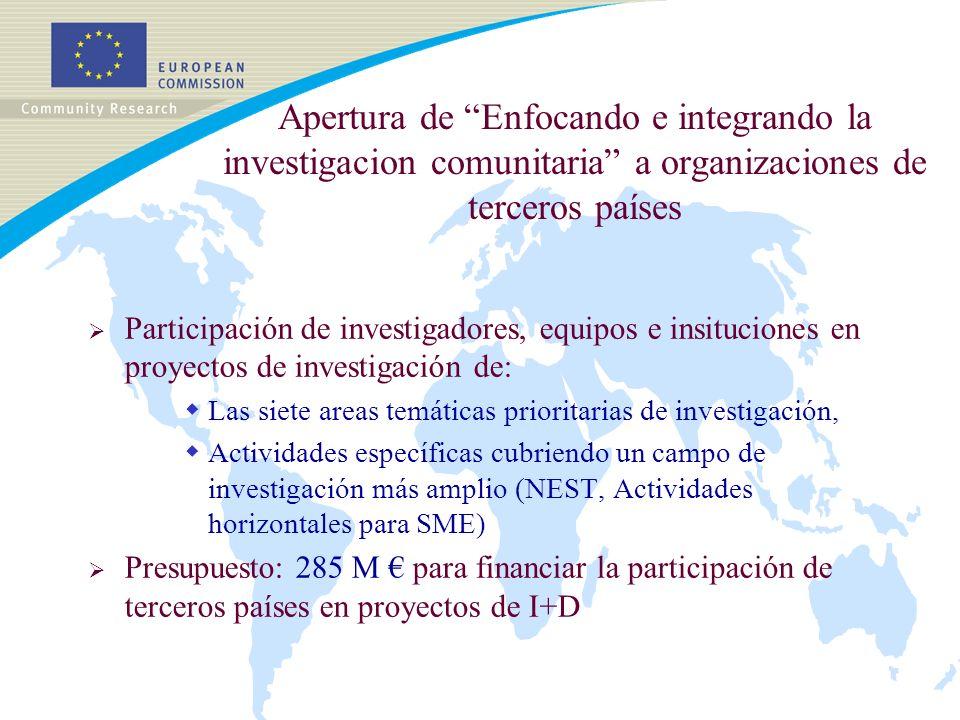 El sexto programa marco (2002-2006) Enfocando e integrando la investigación 285