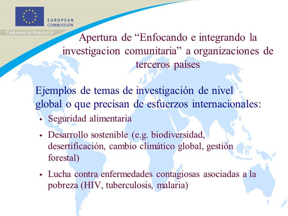 Apertura de Enfocando e integrando la investigacion comunitaria a organizaciones de terceros países Ejemplos de temas de investigación de nivel global o que precisan de esfuerzos internacionales: w Seguridad alimentaria w Desarrollo sostenible (e.g.