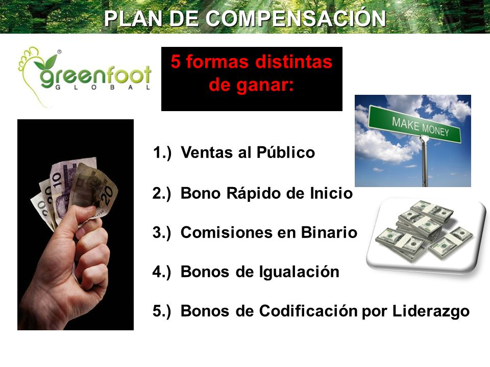 PLAN DE COMPENSACIÓN 1.) Ventas al Público 2.) Bono Rápido de Inicio 3.) Comisiones en Binario 4.) Bonos de Igualación 5.) Bonos de Codificación por L