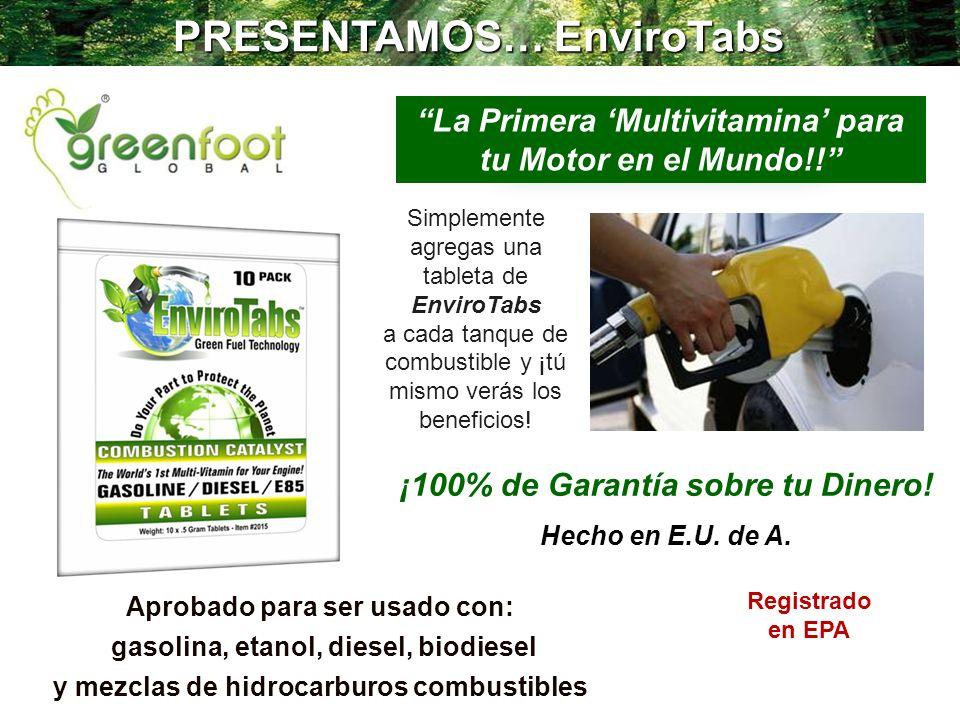 PRESENTAMOS… EnviroTabs La Primera Multivitamina para tu Motor en el Mundo!! Aprobado para ser usado con: gasolina, etanol, diesel, biodiesel y mezcla