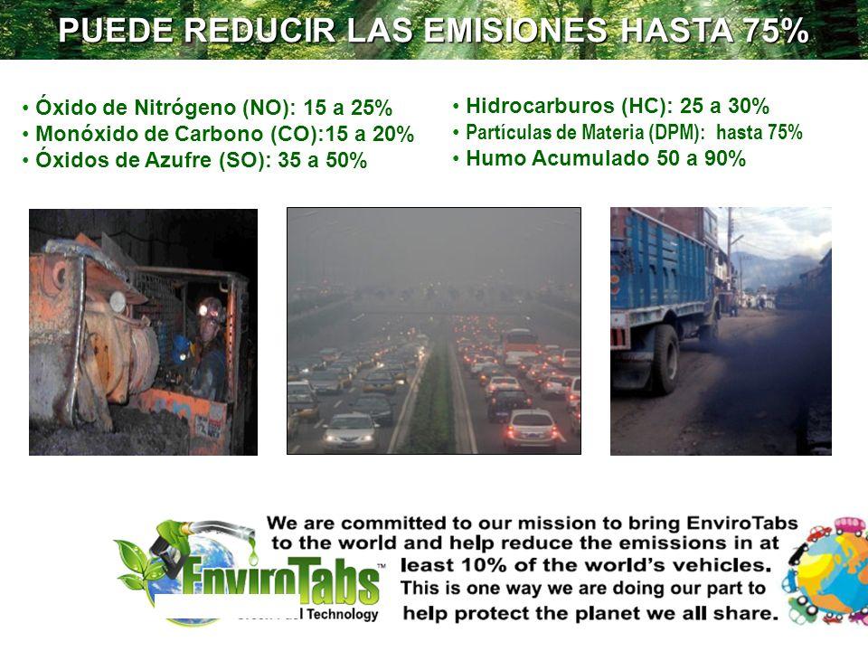 PUEDE REDUCIR LAS EMISIONES HASTA 75% Óxido de Nitrógeno (NO): 15 a 25% Monóxido de Carbono (CO):15 a 20% Óxidos de Azufre (SO): 35 a 50% Hidrocarburo