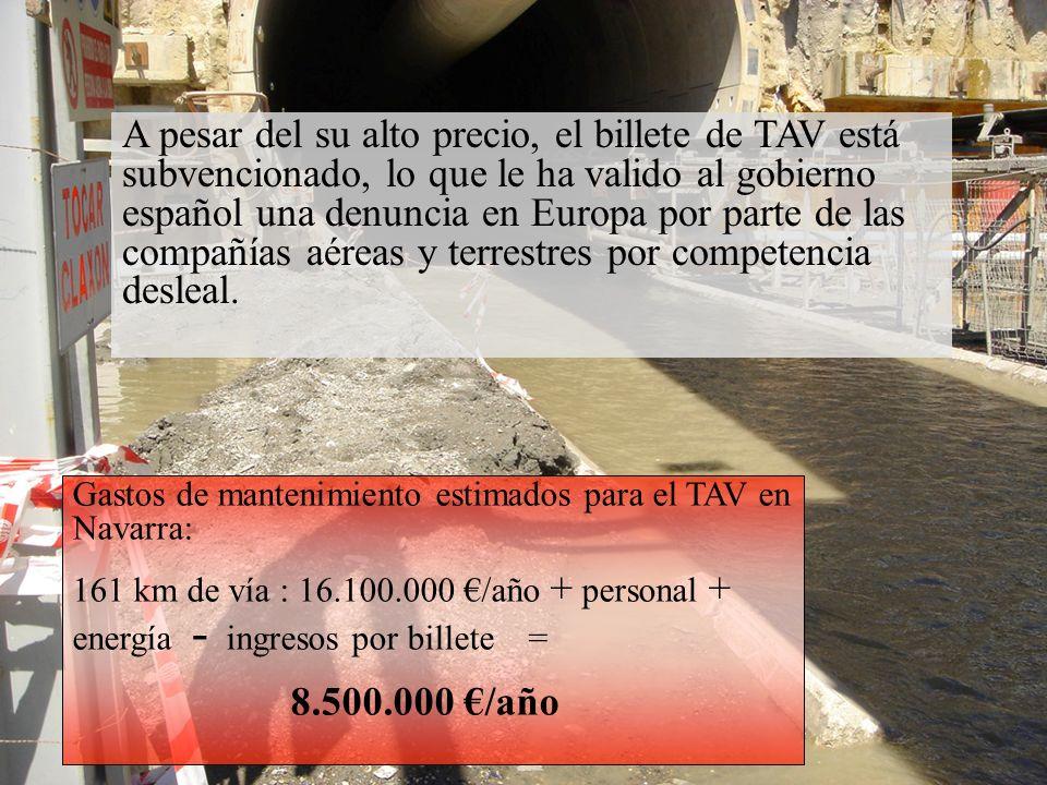 Gastos de mantenimiento estimados para el TAV en Navarra: 161 km de vía : 16.100.000 /año + personal + energía - ingresos por billete = 8.500.000 /año A pesar del su alto precio, el billete de TAV está subvencionado, lo que le ha valido al gobierno español una denuncia en Europa por parte de las compañías aéreas y terrestres por competencia desleal.