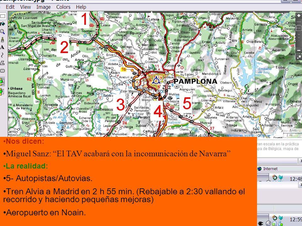 Nos dicen: Miguel Sanz: El TAV acabará con la incomunicación de Navarra La realidad: 5- Autopistas/Autovias.