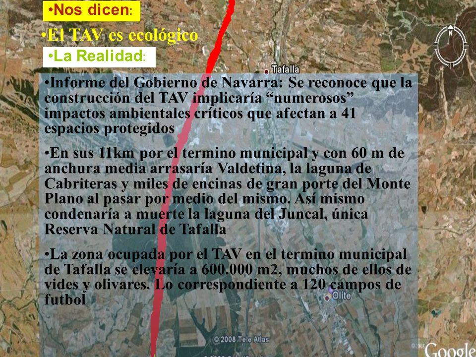 El TAV es ecológico Informe del Gobierno de Navarra: Se reconoce que la construcción del TAV implicaría numerosos impactos ambientales críticos que afectan a 41 espacios protegidos En sus 11km por el termino municipal y con 60 m de anchura media arrasaría Valdetina, la laguna de Cabriteras y miles de encinas de gran porte del Monte Plano al pasar por medio del mismo.