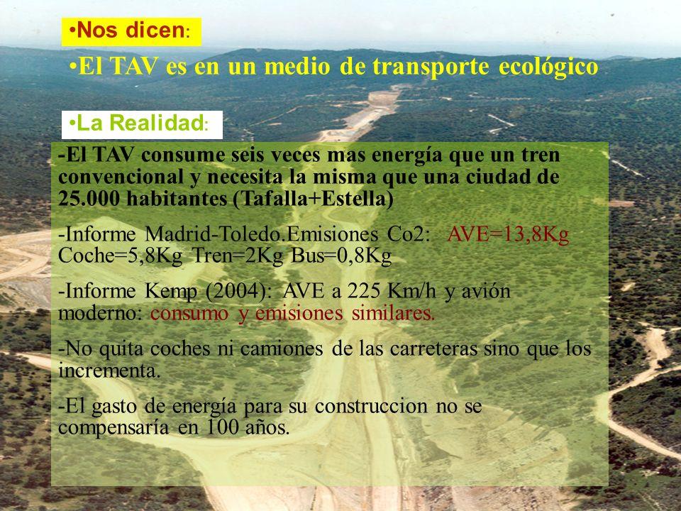 El TAV es en un medio de transporte ecológico -El TAV consume seis veces mas energía que un tren convencional y necesita la misma que una ciudad de 25.000 habitantes (Tafalla+Estella) -Informe Madrid-Toledo.Emisiones Co2: AVE=13,8Kg Coche=5,8Kg Tren=2Kg Bus=0,8Kg -Informe Kemp (2004): AVE a 225 Km/h y avión moderno: consumo y emisiones similares.