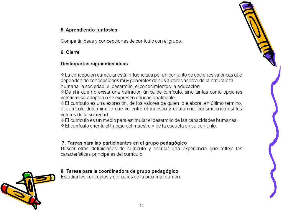 5. Aprendiendo juntos/as Compartir ideas y concepciones de currículo con el grupo. 6. Cierre Destaque las siguientes ideas La concepción curricular es