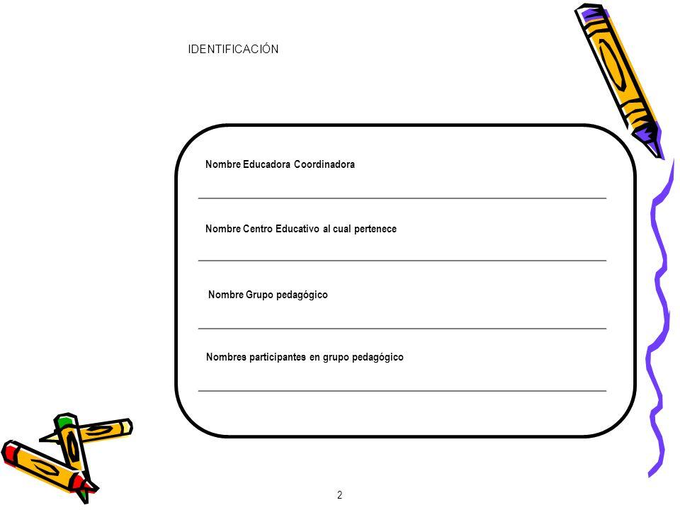 IDENTIFICACIÓN 2 Nombre Educadora Coordinadora Nombre Centro Educativo al cual pertenece Nombre Grupo pedagógico Nombres participantes en grupo pedagógico