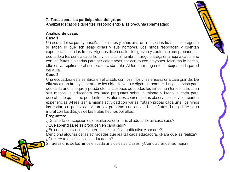 7. Tareas para las participantes del grupo Analizar los casos siguientes, respondiendo a las preguntas planteadas: Análisis de casos Caso 1: Un educad