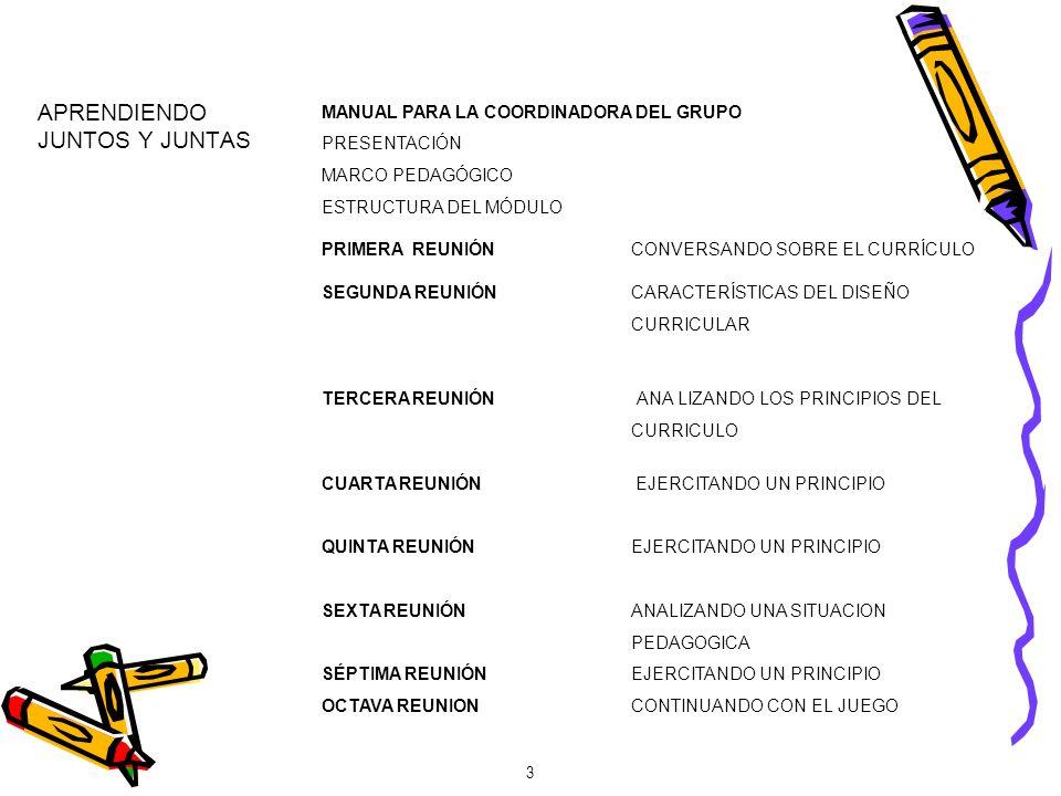 APRENDIENDO JUNTOS Y JUNTAS MANUAL PARA LA COORDINADORA DEL GRUPO PRESENTACIÓN MARCO PEDAGÓGICO ESTRUCTURA DEL MÓDULO PRIMERA REUNIÓNCONVERSANDO SOBRE EL CURRÍCULO SEGUNDA REUNIÓNCARACTERÍSTICAS DEL DISEÑO CURRICULAR TERCERA REUNIÓN ANA LIZANDO LOS PRINCIPIOS DEL CURRICULO CUARTA REUNIÓN EJERCITANDO UN PRINCIPIO QUINTA REUNIÓNEJERCITANDO UN PRINCIPIO SEXTA REUNIÓNANALIZANDO UNA SITUACION PEDAGOGICA SÉPTIMA REUNIÓNEJERCITANDO UN PRINCIPIO OCTAVA REUNIONCONTINUANDO CON EL JUEGO 3