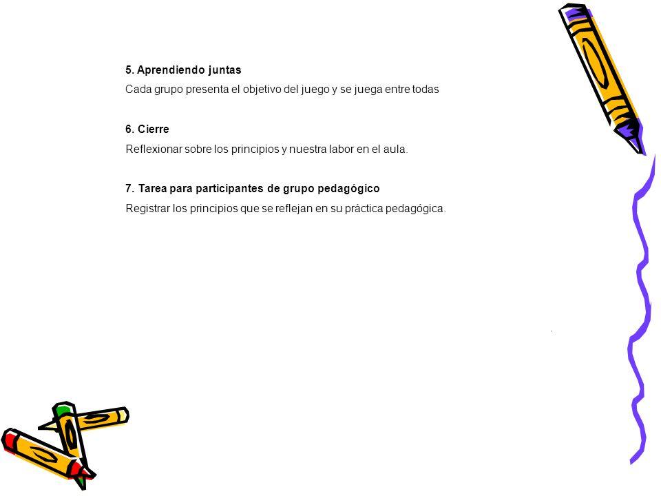 5. Aprendiendo juntas Cada grupo presenta el objetivo del juego y se juega entre todas 6. Cierre Reflexionar sobre los principios y nuestra labor en e