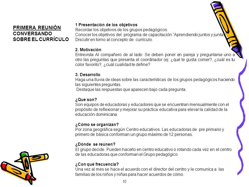 1 Presentación de los objetivos Recordar los objetivos de los grupos pedagógicos. Conocer los objetivos del programa de capacitación Aprendiendo junto