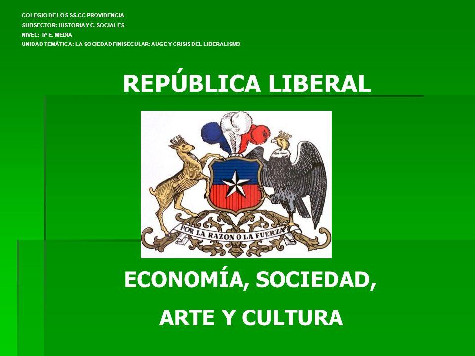 REPÚBLICA LIBERAL ECONOMÍA, SOCIEDAD, ARTE Y CULTURA COLEGIO DE LOS SS.CC PROVIDENCIA SUBSECTOR: HISTORIA Y C. SOCIALES NIVEL: Iiº E. MEDIA UNIDAD TEM