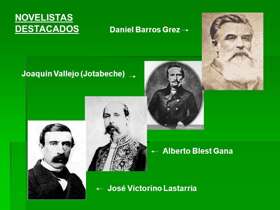 José Victorino Lastarria Alberto Blest Gana Daniel Barros Grez Joaquín Vallejo (Jotabeche) NOVELISTAS DESTACADOS