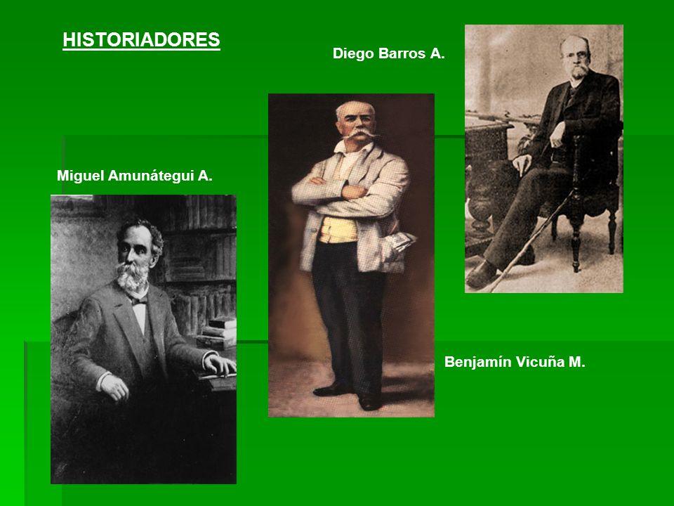 HISTORIADORES Diego Barros A. Benjamín Vicuña M. Miguel Amunátegui A.