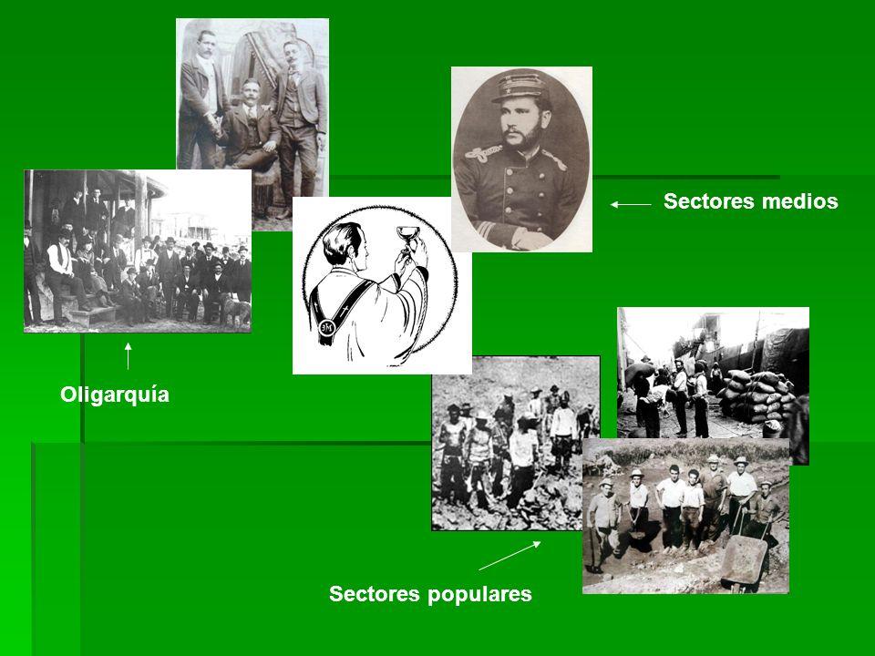 Oligarquía Sectores medios Sectores populares