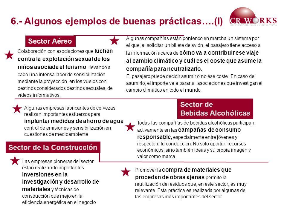 Sector Aéreo Sector de Bebidas Alcohólicas Sector de la Construcción Colaboración con asociaciones que luchan contra la explotación sexual de los niño