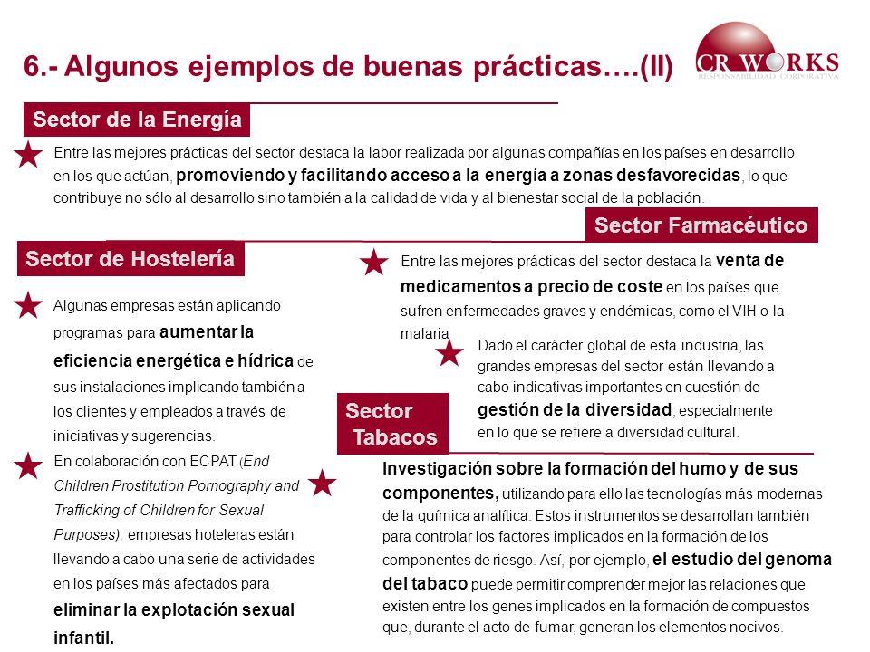 Sector de la Energía Sector Farmacéutico Sector de Hostelería Entre las mejores prácticas del sector destaca la labor realizada por algunas compañías