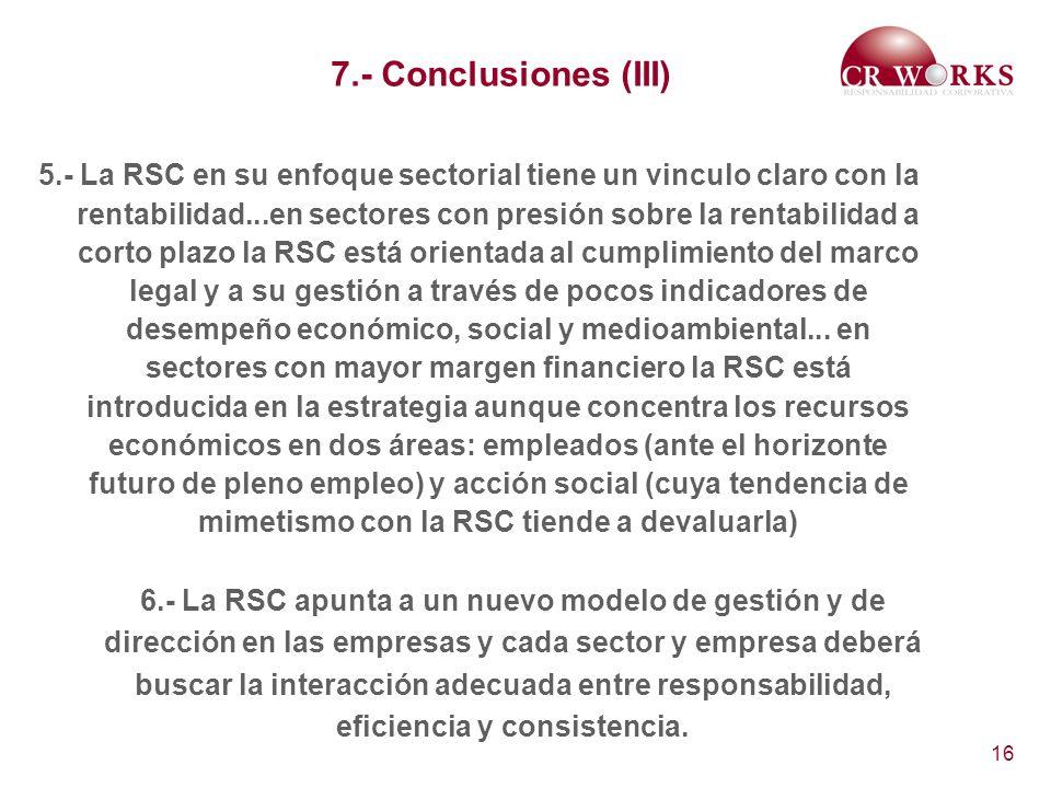 16 7.- Conclusiones (III) 5.- La RSC en su enfoque sectorial tiene un vinculo claro con la rentabilidad...en sectores con presión sobre la rentabilida