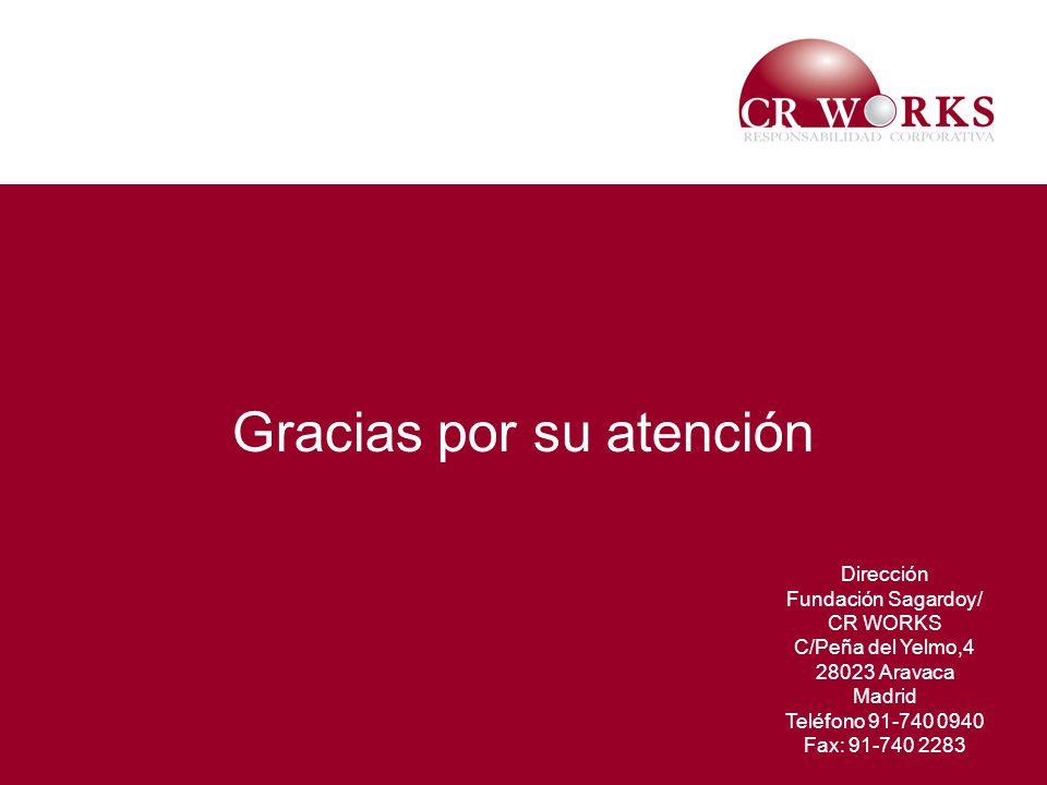 17 Gracias por su atención Dirección Fundación Sagardoy/ CR WORKS C/Peña del Yelmo,4 28023 Aravaca Madrid Teléfono 91-740 0940 Fax: 91-740 2283