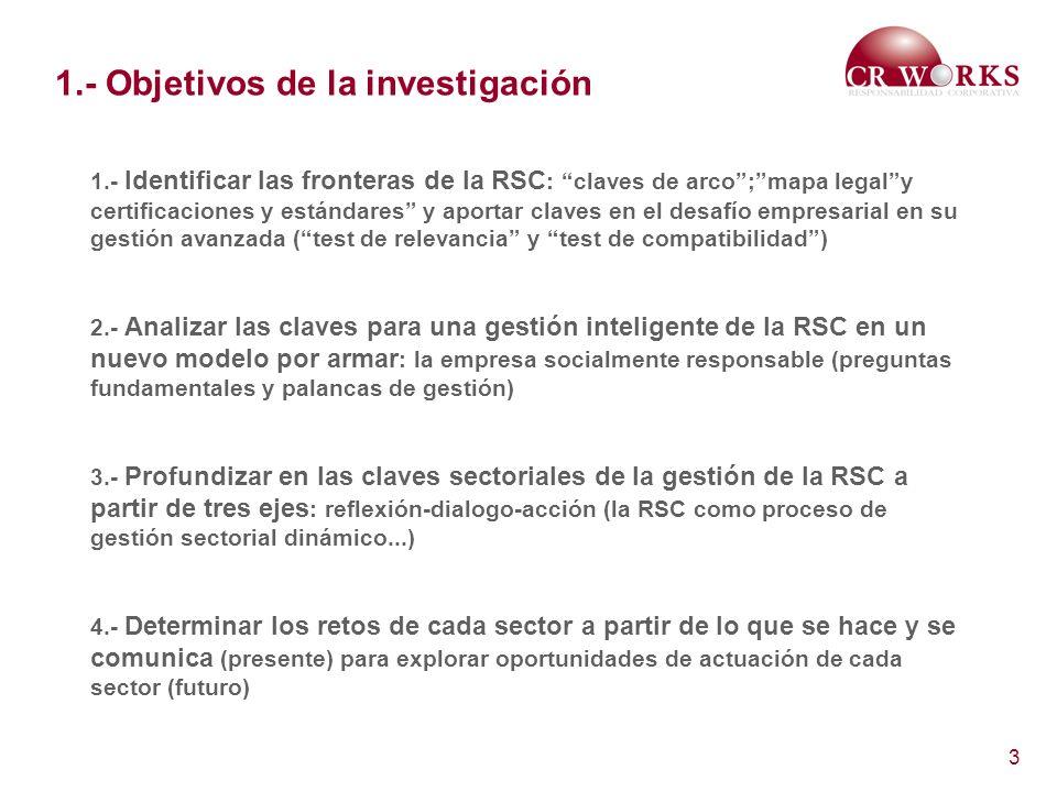 3 1.- Objetivos de la investigación 1.- Identificar las fronteras de la RSC : claves de arco;mapa legaly certificaciones y estándares y aportar claves