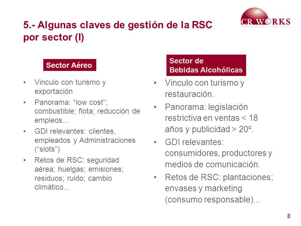 8 5.- Algunas claves de gestión de la RSC por sector (I) Vinculo con turismo y exportación Panorama: low cost; combustible; flota; reducción de empleo