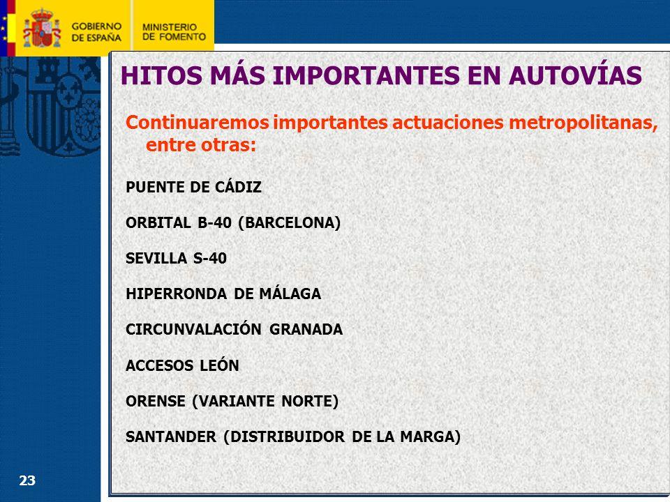 23 HITOS MÁS IMPORTANTES EN AUTOVÍAS Continuaremos importantes actuaciones metropolitanas, entre otras: PUENTE DE CÁDIZ ORBITAL B-40 (BARCELONA) SEVIL