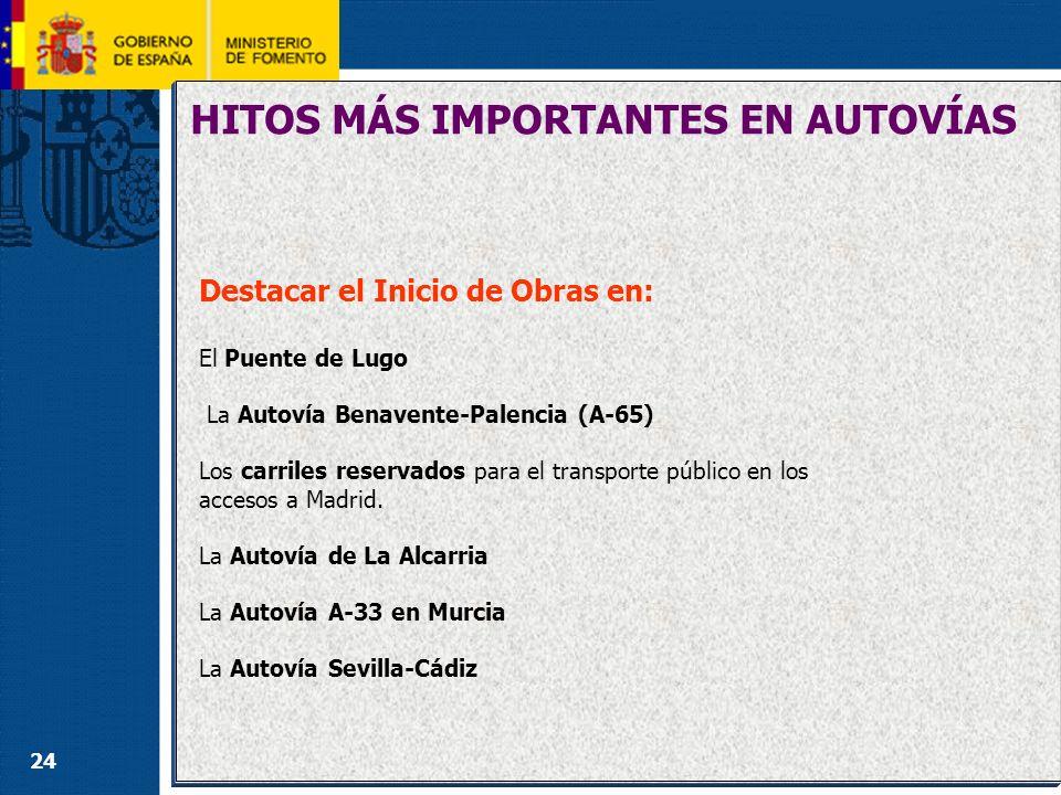 24 HITOS MÁS IMPORTANTES EN AUTOVÍAS Destacar el Inicio de Obras en: El Puente de Lugo La Autovía Benavente-Palencia (A-65) Los carriles reservados pa