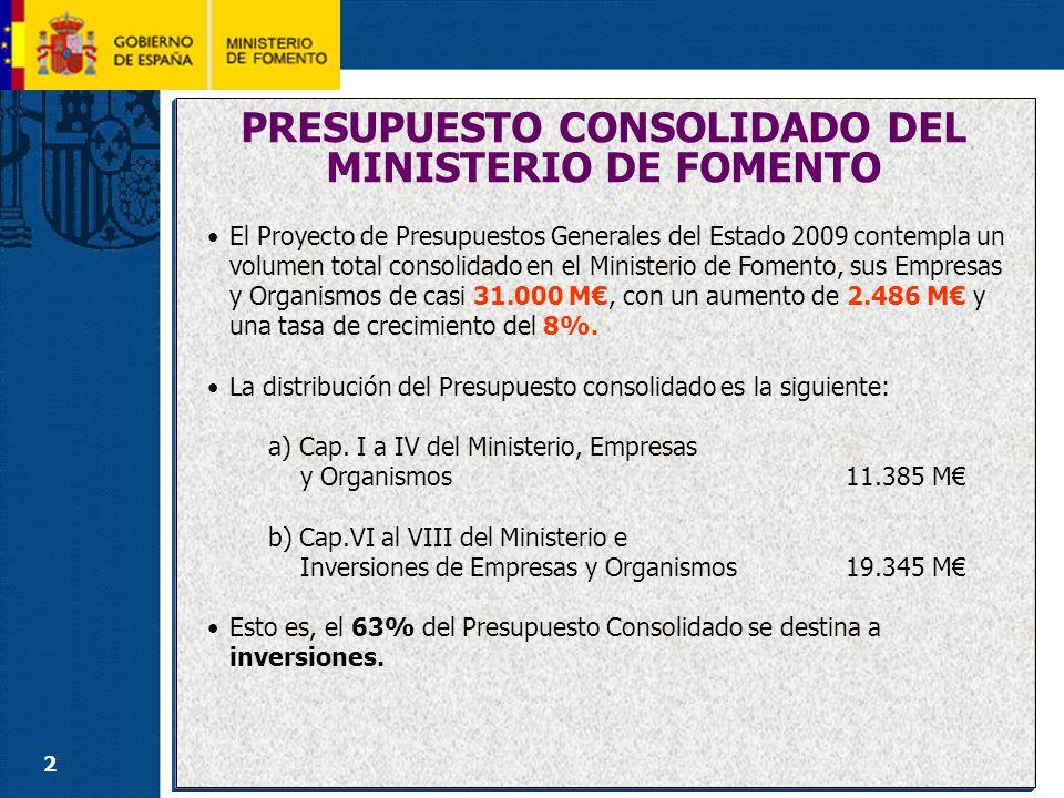 2 PRESUPUESTO CONSOLIDADO DEL MINISTERIO DE FOMENTO El Proyecto de Presupuestos Generales del Estado 2009 contempla un volumen total consolidado en el