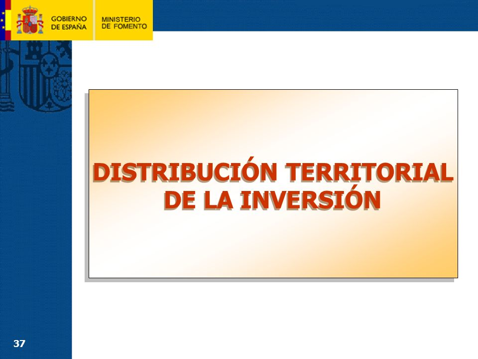 37 DISTRIBUCIÓN TERRITORIAL DE LA INVERSIÓN