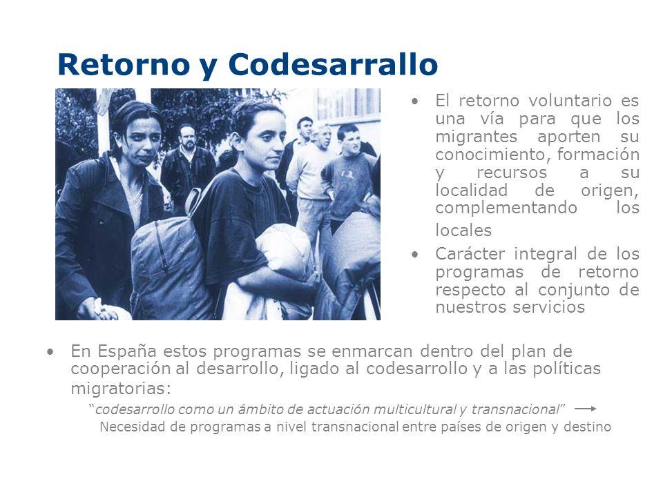 Retorno y Codesarrallo El retorno voluntario es una vía para que los migrantes aporten su conocimiento, formación y recursos a su localidad de origen,