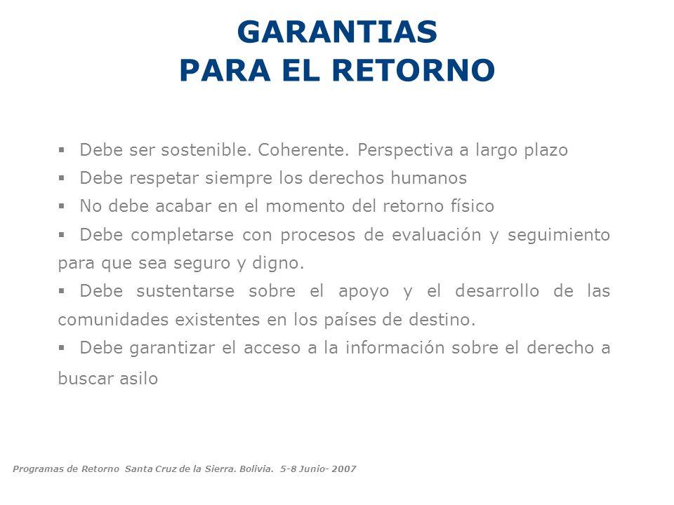 GARANTIAS PARA EL RETORNO Debe ser sostenible. Coherente. Perspectiva a largo plazo Debe respetar siempre los derechos humanos No debe acabar en el mo