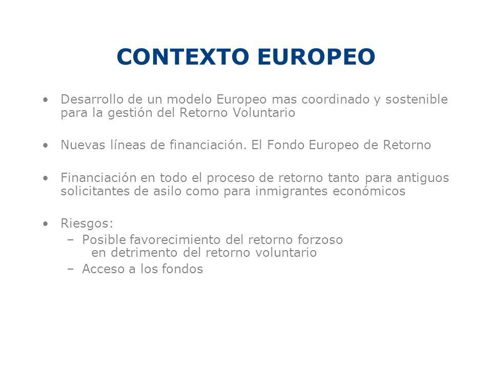 CONTEXTO EUROPEO Desarrollo de un modelo Europeo mas coordinado y sostenible para la gestión del Retorno Voluntario Nuevas líneas de financiación. El