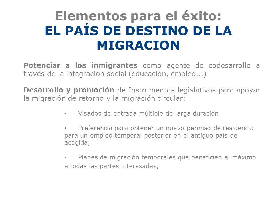Elementos para el éxito: EL PAÍS DE DESTINO DE LA MIGRACION Potenciar a los inmigrantes como agente de codesarrollo a través de la integración social