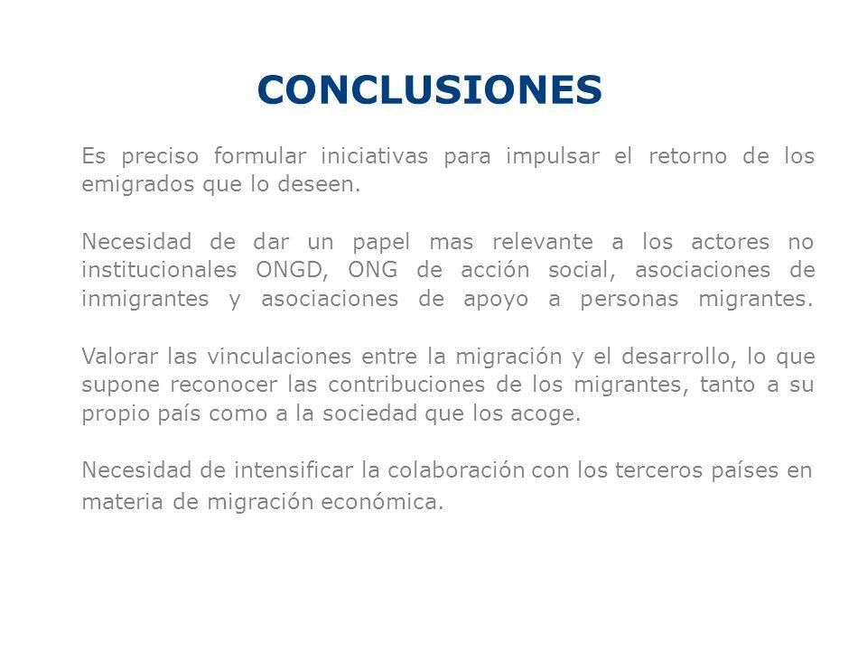 CONCLUSIONES Es preciso formular iniciativas para impulsar el retorno de los emigrados que lo deseen. Necesidad de dar un papel mas relevante a los ac