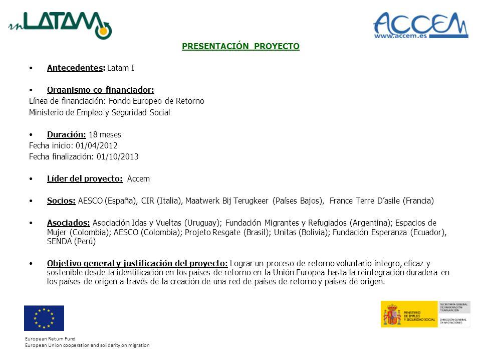 PRESENTACIÓN PROYECTO Antecedentes: Latam I Organismo co-financiador: Línea de financiación: Fondo Europeo de Retorno Ministerio de Empleo y Seguridad