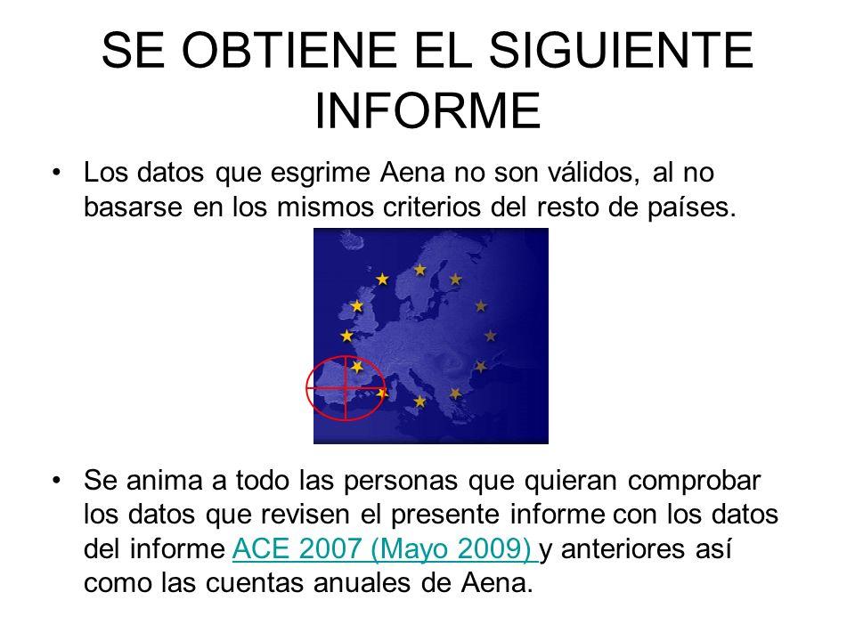 SE OBTIENE EL SIGUIENTE INFORME Los datos que esgrime Aena no son válidos, al no basarse en los mismos criterios del resto de países.