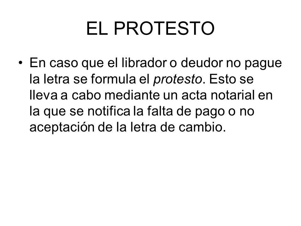 EL PROTESTO En caso que el librador o deudor no pague la letra se formula el protesto.