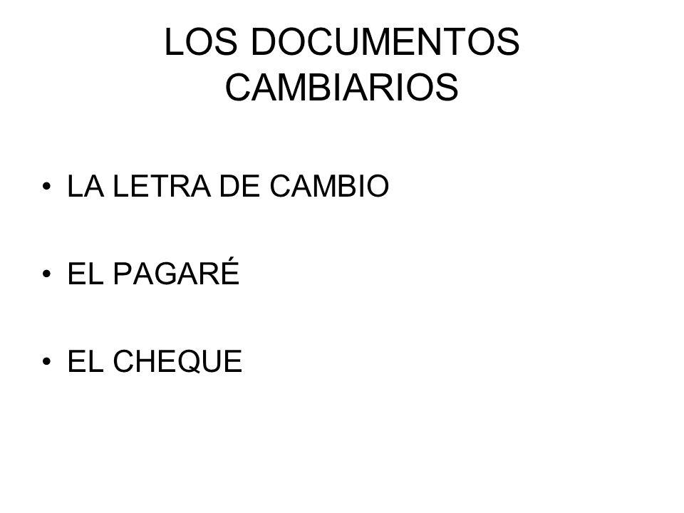 LOS DOCUMENTOS CAMBIARIOS LA LETRA DE CAMBIO EL PAGARÉ EL CHEQUE
