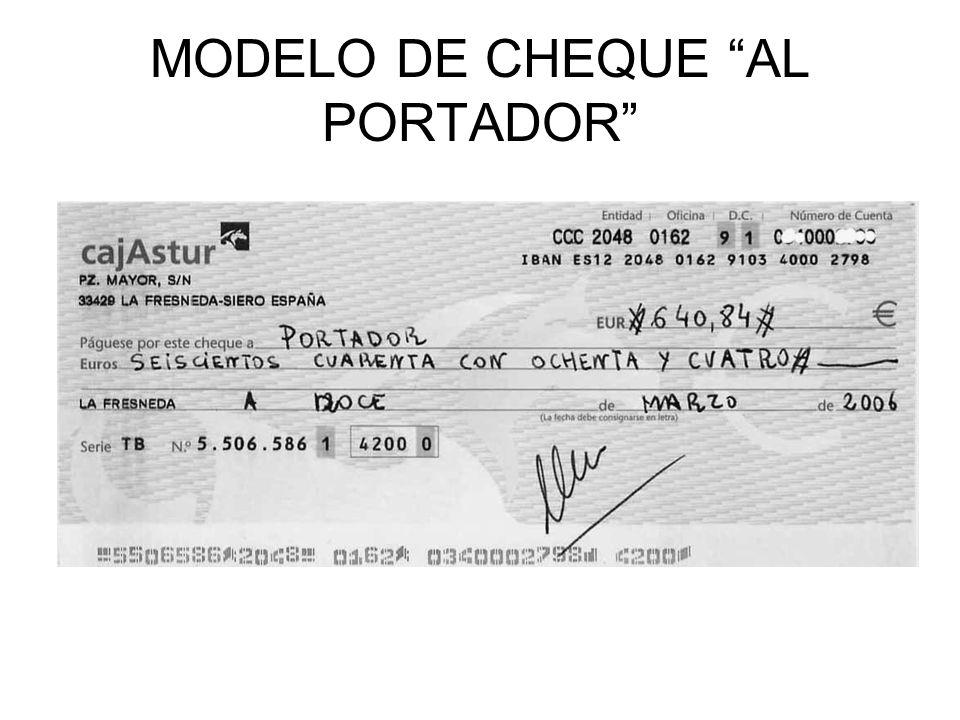 MODELO DE CHEQUE AL PORTADOR