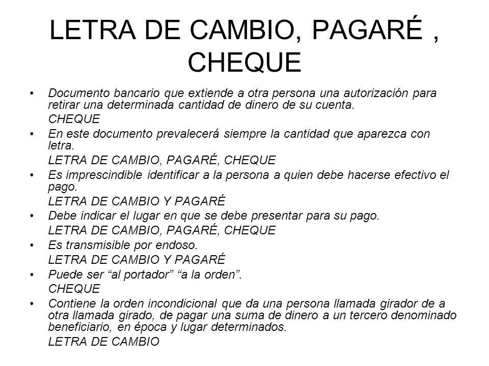 LETRA DE CAMBIO, PAGARÉ, CHEQUE Documento bancario que extiende a otra persona una autorización para retirar una determinada cantidad de dinero de su cuenta.