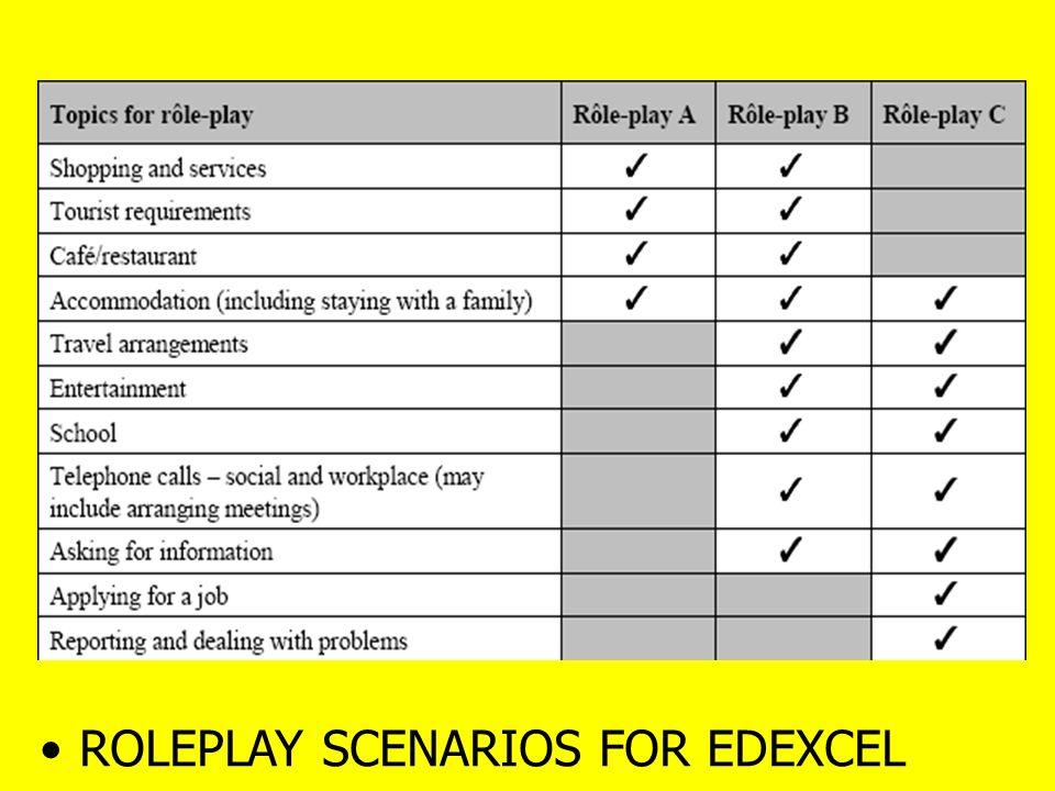 ROLEPLAY SCENARIOS FOR EDEXCEL