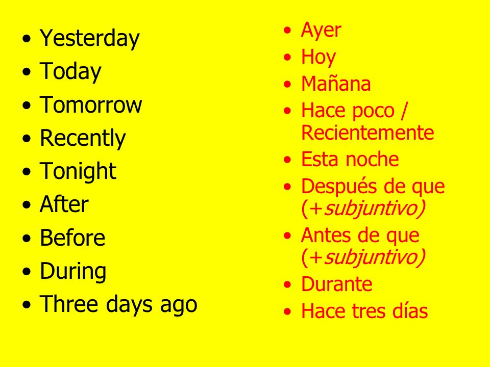 Last week Last year Last week-end Next week Next year Next week-end La semana pasada.
