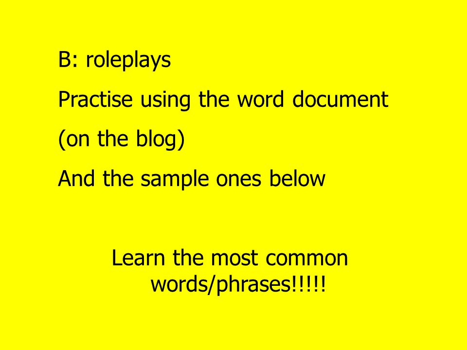 Can you work out the tasks for the following answers on role-play A.