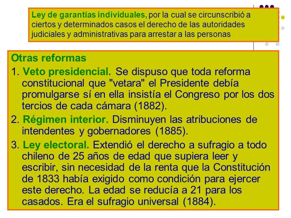 Otras reformas 1. Veto presidencial. Se dispuso que toda reforma constitucional que