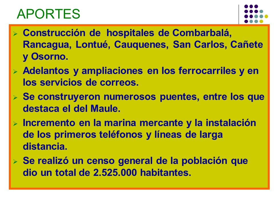 APORTES Construcción de hospitales de Combarbalá, Rancagua, Lontué, Cauquenes, San Carlos, Cañete y Osorno. Adelantos y ampliaciones en los ferrocarri