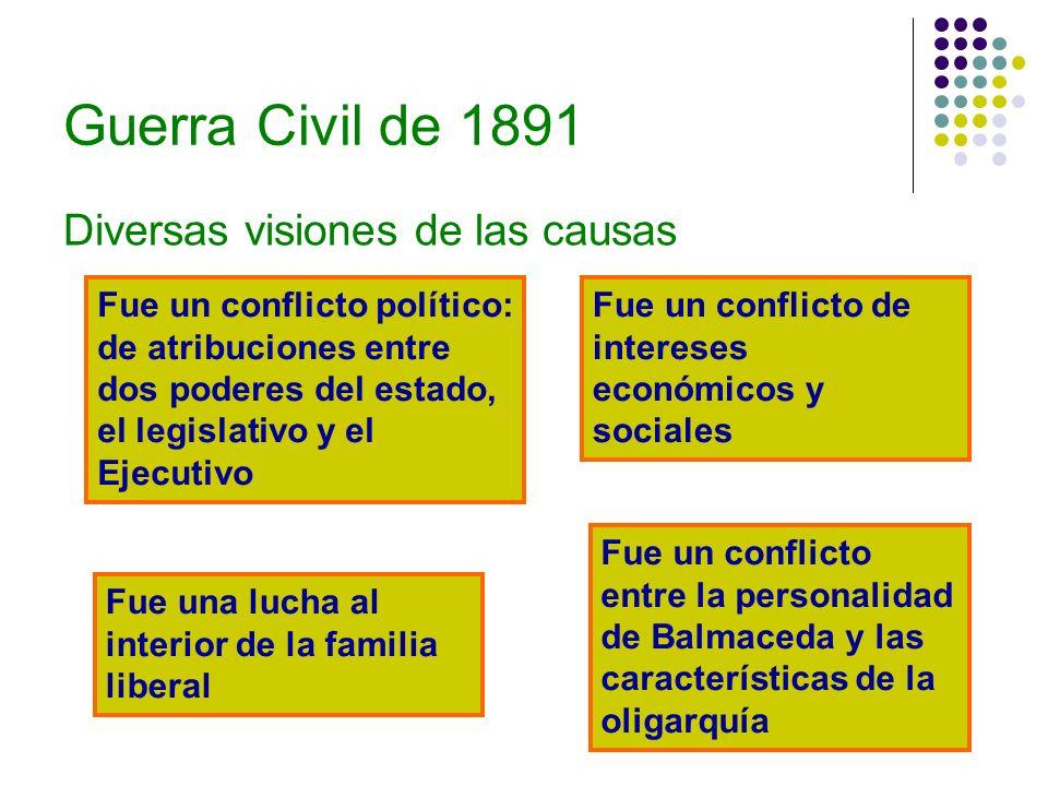 Guerra Civil de 1891 Diversas visiones de las causas Fue un conflicto político: de atribuciones entre dos poderes del estado, el legislativo y el Ejec