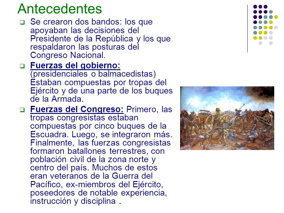 Antecedentes Se crearon dos bandos: los que apoyaban las decisiones del Presidente de la República y los que respaldaron las posturas del Congreso Nac