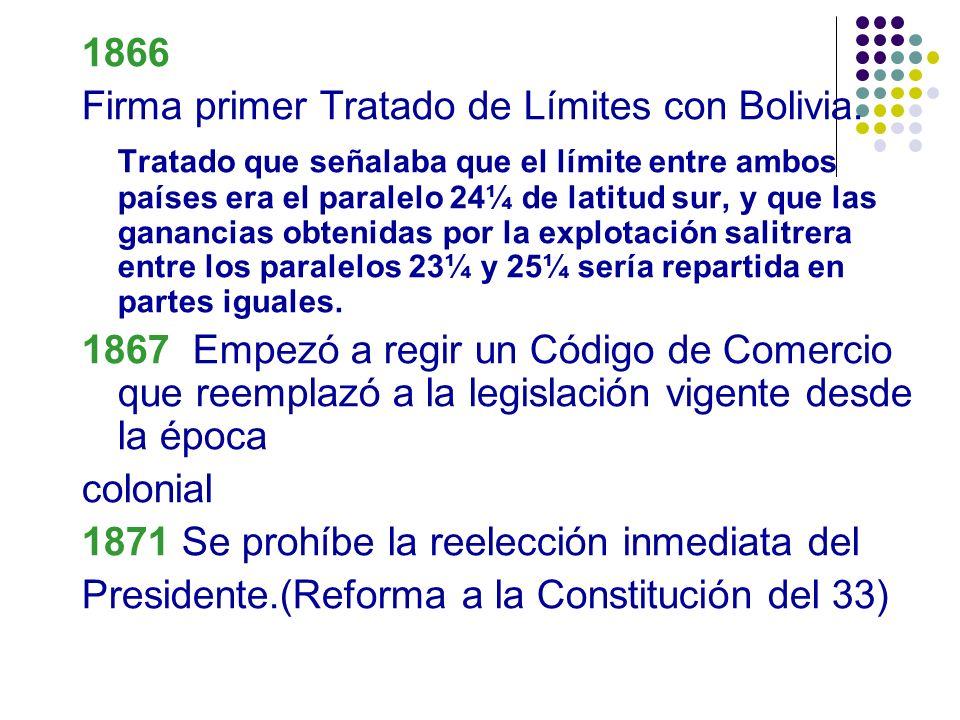 1866 Firma primer Tratado de Límites con Bolivia. Tratado que señalaba que el límite entre ambos países era el paralelo 24¼ de latitud sur, y que las