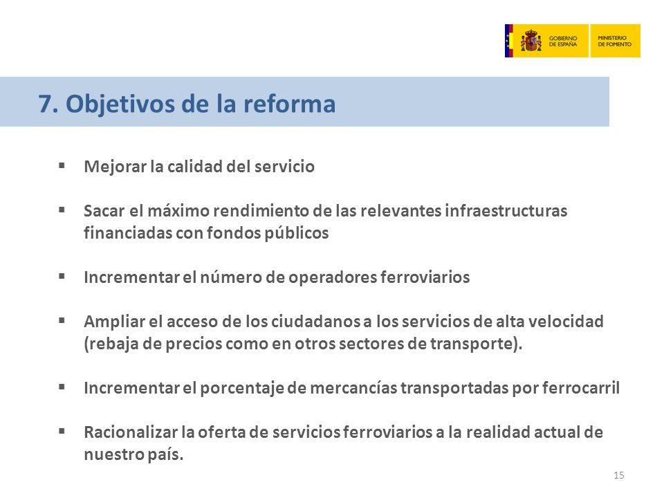 7. Objetivos de la reforma Mejorar la calidad del servicio Sacar el máximo rendimiento de las relevantes infraestructuras financiadas con fondos públi